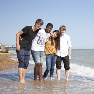 Embassy Hastings students on the seafront in Hastings.